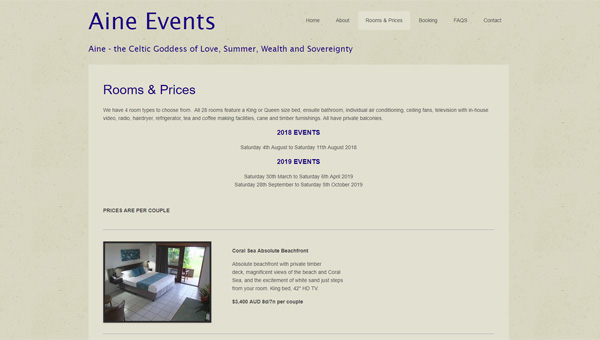 aine events website