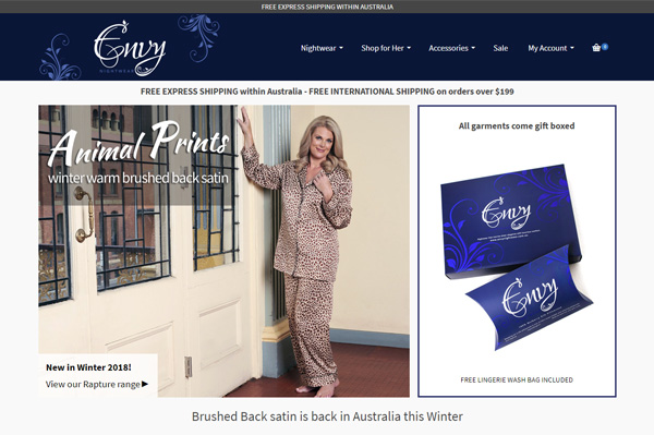 envy nightwear ecommerce website