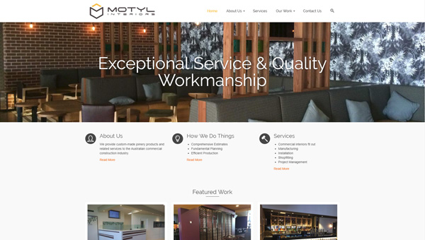motyl interiors wordpress website